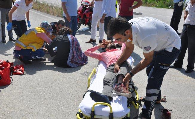 Bursa'da anne oğul aynı motosiklette yaralandı!