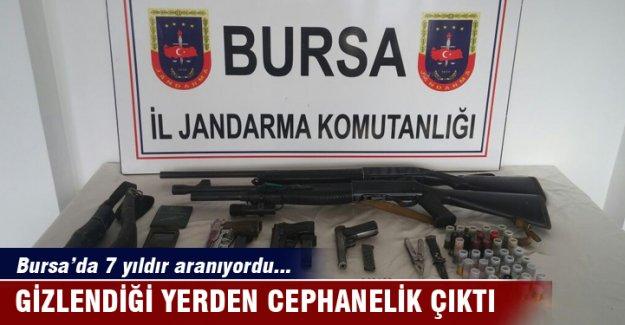 Bursa'da 7 yıldır aranan şahsın gizlendiği yerden cephanelik çıktı