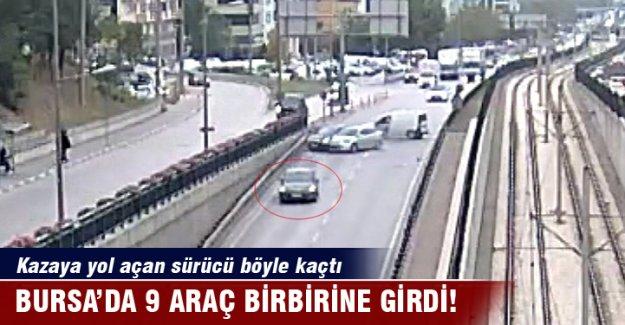 Bursa'da 9 araç birbirine girdi: Kazaya yol açan sürücü böyle kaçtı!