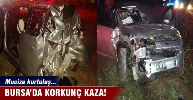 Bursa'da hurdaya dönen otomobilden sağ çıktı