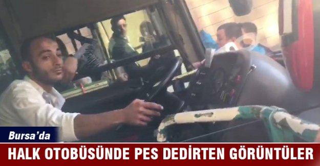 """Bursa'da özel halk otobüsü direksiyonunda """"pes"""" dedirten görüntüler..."""