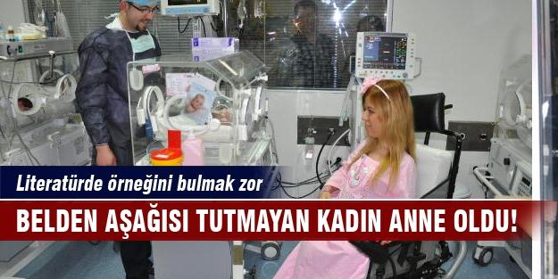 Bursa'da ilginç doğum! Belden aşağısı tutmayan kadın anne oldu