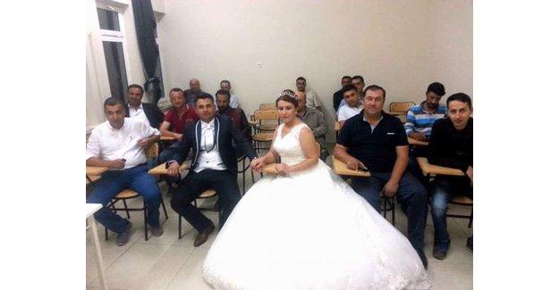 Düğün günü kursa gittiler