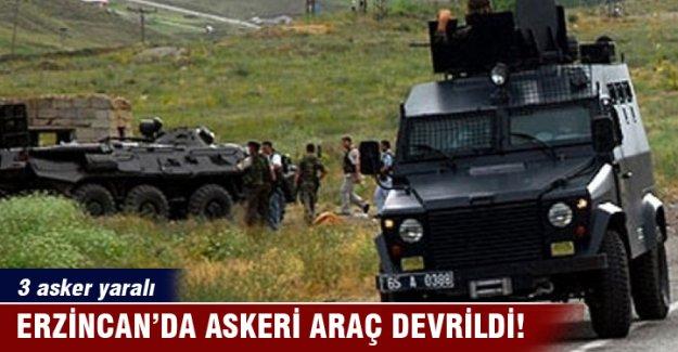 Erzincan'da askeri araç devrildi: 3 asker yaralı