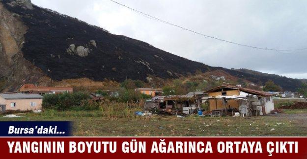 Mudanya'daki yangının boyutu hava aydınlanınca ortaya çıktı