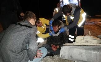 Bursa'da darp edilen genç motosikletiyle kaza yaptı!