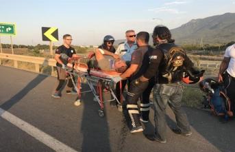 Bursa'da lastiği patlayan motosiklet sürücüsü ölümden döndü!