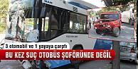 Belediye otobüsü kaza yaptı