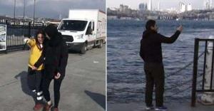 Selfie çekerken denize düştü...