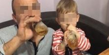 Küçük çocuğuna bira içirirken çektirdiği görüntüleri paylaştı