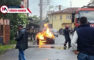 Bursa'da sokak ortasında alev alev yandı! İşte...