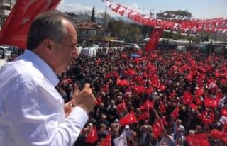 Muharrem İnce'den Erdoğan'a mitingde görüntülü...