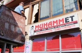 Tepki gören 'Muhammet' tabelası indirildi