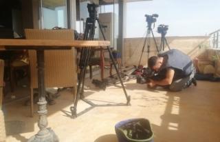 Nusaybin'da saldırı sonrası gazeteciler...