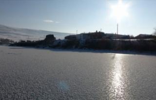 Soğuktan göl dondu!