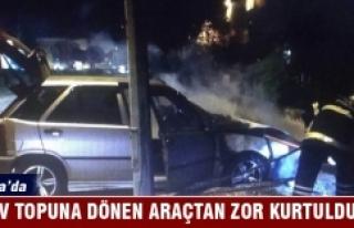 Bursa'da alev topuna dönen araçtan zor kurtuldular