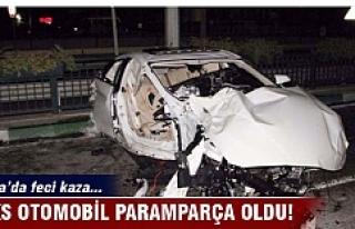 Bursa'da lüks otomobil paramparça oldu