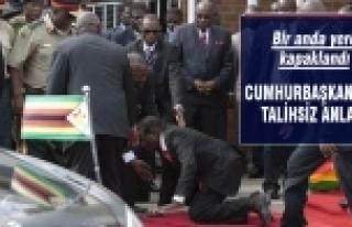 Cumhurbaşkanı kürsüden yere düştü