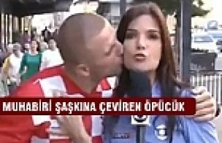 Muhabiri şaşkına çeviren öpücük