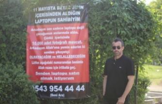Bursa'da hırsıza pankartla seslendi, anılarını istedi