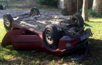 Bursa'da otomobil dere yatağına uçtu! Yaralılar var!