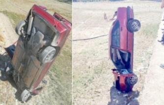 Korkunç kaza! 3 metre yükseklikten düşüp çakılı kaldı
