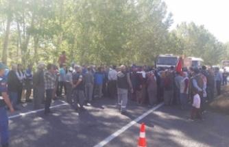 Köylülerden su için yol kapatma eylemi