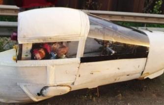 Otobanda ahşap ve selo banttan ev yapımı elektrikli araç, polisi de şaşırttı