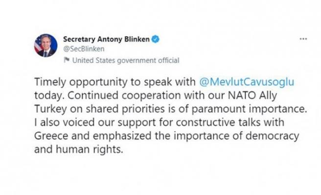 """ABD Dışişleri Bakanı Blinken: """"ABD ve Türkiye arasındaki işbirliğini görüştük"""""""