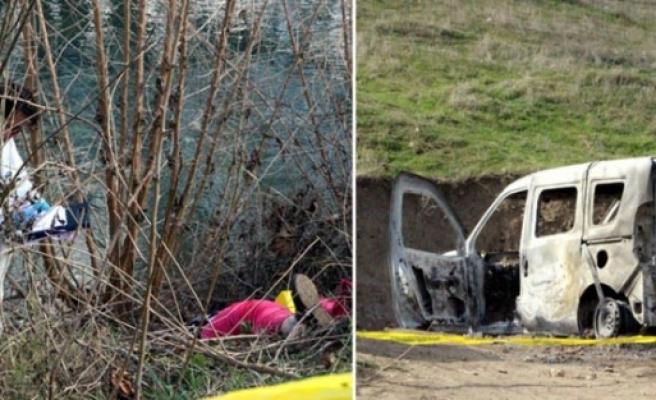 50 yaşındaki kadını vurup aracı ateşe vermişler