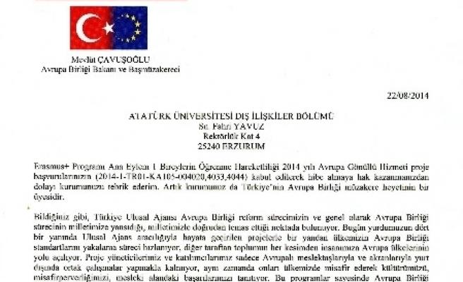 Avrupa Birliği Bakanlığı'ndan A.ü. Dış İlişkiler Ofisine Tebrik Mektubu