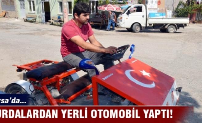 Bursa'da köy çocukları için al bayraklı yerli otomobil yaptı