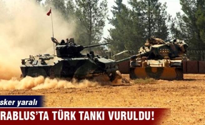 Cerablus'un batısında Türk tankı vuruldu!