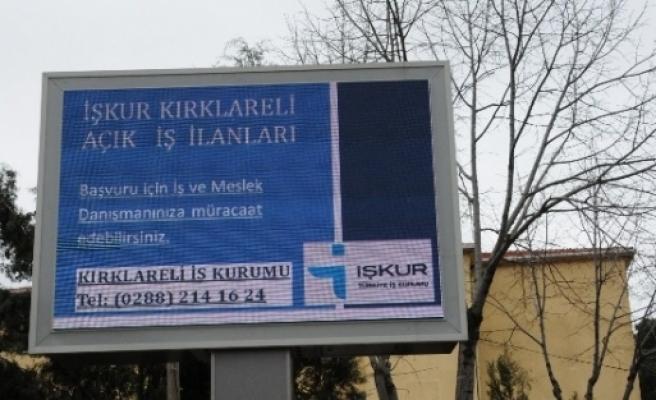 İşkur'un İş İlanlari Kırklareli'de Led Ekrandan Takip Edilecek