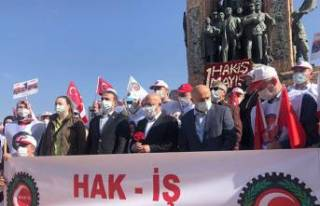 HAK-İŞ, Taksim Cumhuriyet Anıtı'na çelenk...