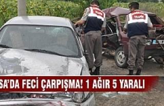 Bursa'da feci çarpışma! 1 ağır 5 yaralı