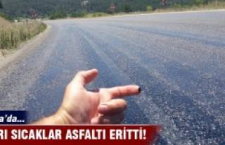 Bursa'da sıcaktan asfalt eridi