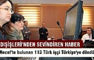 Necef'te bulunan 113 Türk işçi Türkiye'ye döndü