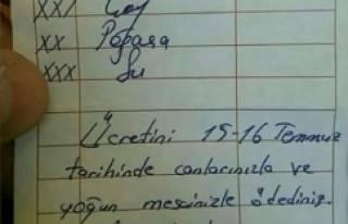 Polislerin sipariş fişine yazılan not sosyal medyayı...