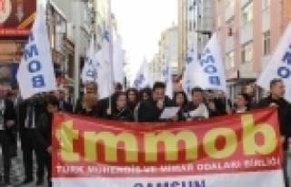 Samsun'da Tmmob Üyelerinden Torba Yasa Tepkisi