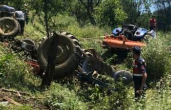 Bursa'da devrilen traktörün altında kalan muhtar öldü