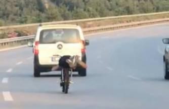 Bursa'da motosikleti yüzüstü yatarak kullandı! İşte cezası