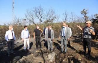 Turgay Erdem yangın bölgesini yerinde inceledi