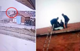 Takla atan araçtan savrulan sürücü evin çatısına düştü ...