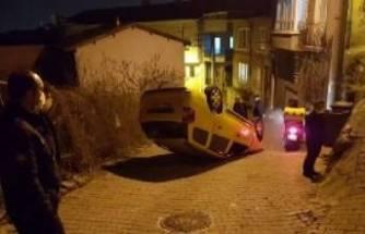 Bursa'da takla atan taksiden burnu bile kanamadan çıktı