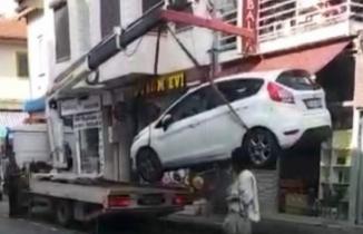 Bursa'da çekici aracı böyle düşürdü!